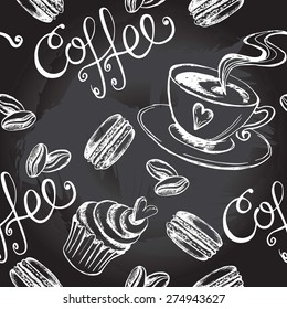 Seamless decorative pattern with a cup of coffee and sweets