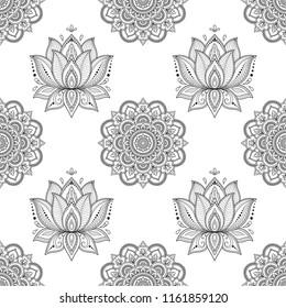 Seamless decorative pattern in ethnic oriental Indian style. Round Mandala and Lotus flower stylized as mehndi.