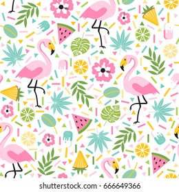 Seamless decorative pattern with flamingo, pineapple, lemons and green palm leaves  on a white background. Vector illustration of a funny summer pattern.
