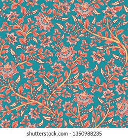 Seamless decorative pattern with flowers on turquoise background. Indian style. Kalamkari.