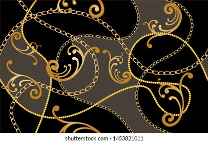 Seamless decorative pattern of golden baroque motif with chains on black  background.EPS10 Illustration