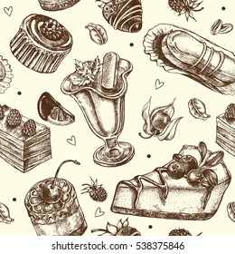 Seamless decorative pattern with hand drawn elements - assorted desserts, cakes and berries. Vector illustration.
