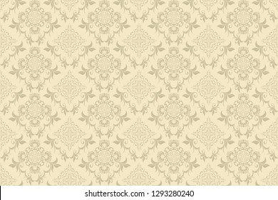Seamless decorative pattern on background. Floral ornament on background. Wallpaper pattern. Template for design of your interior