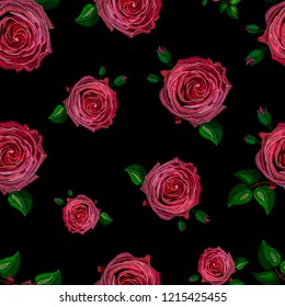 Seamless decorative pattern rose stylized texture of embroidery, imitation of ornamental satin stitch. Vector pattern for printing on fabric, clothes, shawl, headscarf, dress.