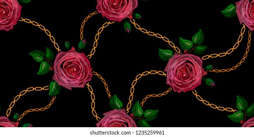 Seamless decorative pattern rose stylized texture of embroidery with golden chains, imitation of ornamental satin stitch. Vector pattern for printing on fabric, clothes, shawl, headscarf, dress.