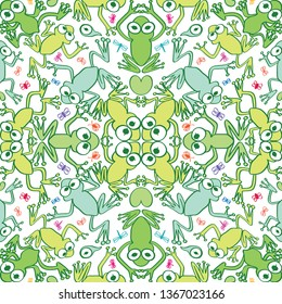 Seamless decorative pattern with two axes of symmetry featuring several frogs in top view. Frogs in different tones of green, colorful tiny insects and lotus leaves compose this repetitive design