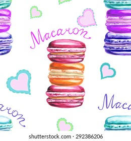 Seamless decorative pattern with watercolor macarons