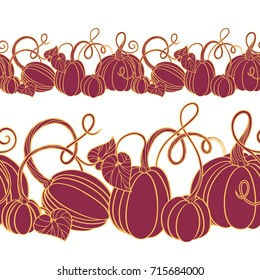 Seamless decorative pumpkin border in two scales