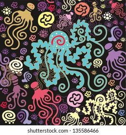 Seamless decorative sea pattern with colorful Medusozoa,  jellyfish, medusa, on dark background