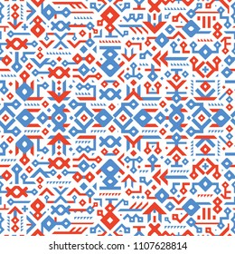 Seamless Decorative Vector Pattern for Cover Design. Mix of Elements and Stripes. Red and Blue Shapes on White