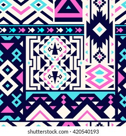 Seamless Decorative Vector Pattern for Textile Design. Mix of Triangles, Stripes and Rhombuses. Pink and Blue Shapes on Black and White Segments