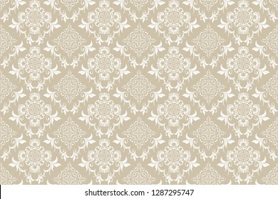 Seamless decorative white pattern on background. Floral ornament on brown background. Wallpaper pattern. Template for design of your interior