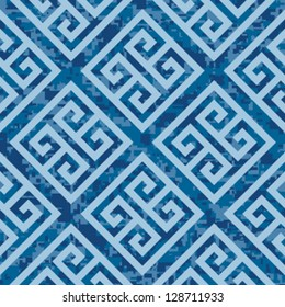 Seamless Deep Ocean Greek Key Background Pattern