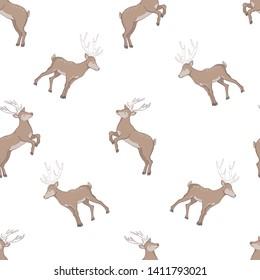 seamless deer pattern, illustration, vector
