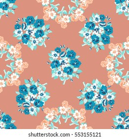 Seamless delicate pattern of bouquet, wreath. Floral diagonal background for textile or book covers, manufacturing, wallpapers, print, gift wrap and scrapbooking. Trendy colors 2017 millefleurs.