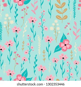 Seamless delicate pattern with cute hand drawn modern flowers for fabric, textile, stationery, wallpaper design