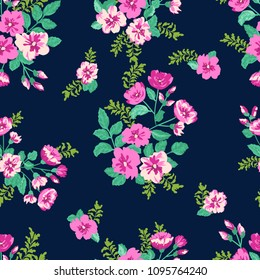 Seamless delicate pattern of cute pink bouquets. Summer flowers. Floral seamless background for textile or book covers, manufacturing, wallpapers, print, gift wrap and scrapbooking
