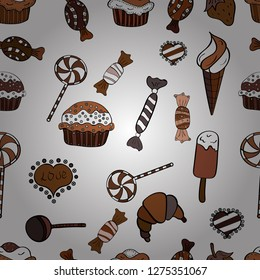 Seamless delicious cupcakes and muffins vector cartoon on brown, white and black. Chocolate birthday dessert cupcake illustration.