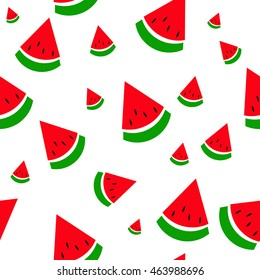 Seamless depicting slices of watermelon cartoon, children's style. Can be used as wallpaper or picture on the fabric in the children's room, the kitchen, the cover for the book, journal or other