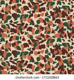 Seamless Desert camouflage pattern. Khaki texture, vector illustration. Camo print background. Abstract military style backdrop in shades of brown