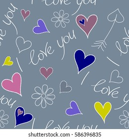Seamless design backdrop for wedding invitation cards. Vector illustration. Vector Valentines day seamless pattern with small and big hearts, flower, I love you text in yellow and violet colors.