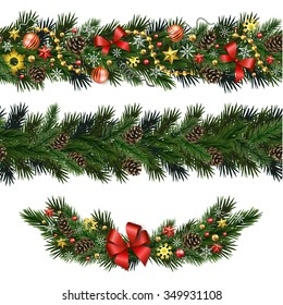 Seamless design elements for Christmas and New Year design isolated on white background. Garlands and vignette of fir branches with snowflakes, branches, pine cones, ribbons, stars, beads.