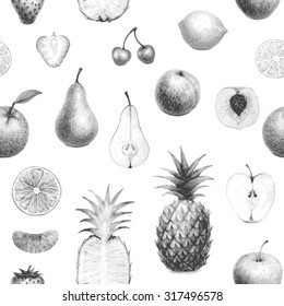 seamless detailed monochrome set of hand drawn fruits