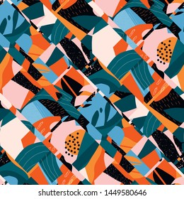 Seamless diagonal abstract pattern with floral and geometric modern elements. Contemporary tropical illustration for summer design.