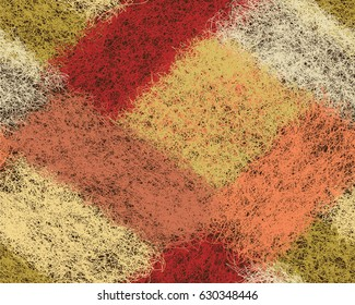 Seamless diagonal pattern with colorful woven hairy rectangular elements in pastel colors
