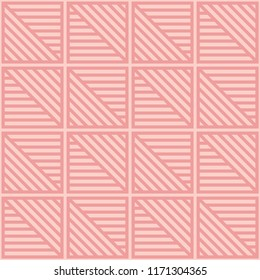 Seamless diagonal and straight tile line pattern vector. Design light pink on pink background. Design print for textile, wallpaper, background. Set 3