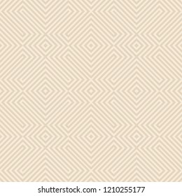 Seamless diagonal stripes connecting pattern vector. Design lines sloping beige on light brown background. Design print for textile, fashion, wallpaper, background. Set 6