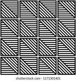 Seamless diagonal tile line pattern vector. Design black on white background. Design print for textile, wallpaper, background. Set 1