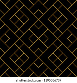 Seamless diagonal tile pattern vector. Design line gold on black background. Design print for textile, wallpaper, background. Set 5