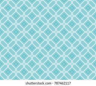 Seamless diagonal tile pattern vector. Damask design light blue on blue background. Design print for textile, wallpaper, fabric, background, cloth.