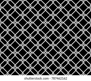 Seamless diagonal tile pattern vector. Damask design white line on black background. Design print for textile, wallpaper, fabric, background, cloth.