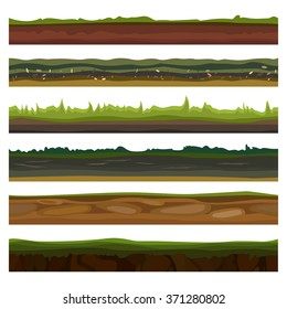 Seamless different grounds, soils and land set for UI games. Surface green soils grass. Soil ground land, underground icons, soil game earth. Vector illustration EPS10
