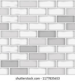 A seamless different white and gray color bricks wall pattern background vector illustration