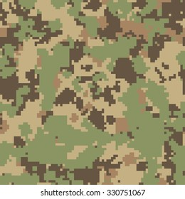 Seamless digital fashion green and brown vegetation camouflage pattern vector