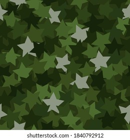 Seamless digital woodland camo vector texture. Military Camoflage fabrics print with stars. Design texture element for christmas party poster or textile print.
