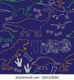 Seamless  Dino pattern, print for T-shirts, textiles, wrapping paper, web. Original design with t-rex, dinosaur.  grunge design for boys