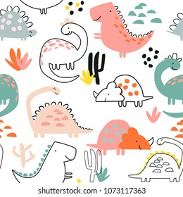 Seamless Dino pattern, print for T-shirts, textiles, wrapping paper, web. Original design with t-rex, dinosaur. Cute design for boys and girls.