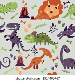 Seamless Dino pattern, print for T-shirts, textiles, wrapping paper, web. Original design with colourful dinosaurs, fossils,volcano and footprints. Vector illustration.