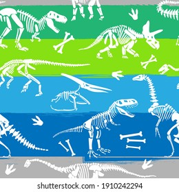Seamless  Dino pattern, print for T-shirts, textiles, wrapping paper, web. Original design with t-rex,dinosaur skeleton.  grunge design for boys .