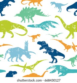 Seamless  Dino pattern, print for T-shirts, textiles, wrapping paper, web. Original design with t-rex, dinosaur.  grunge design for boys .