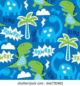 seamless dinosaur animal pattern vector illustration