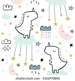 Seamless dinosaur cute pattern for kids, children. Clouds, moon, stars background. Scandinavian style for fabric, wallpaper, clothes, dinosaur swaddles, apparel, planner, sticker