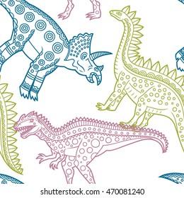 Seamless dinosaur pattern on a white background.