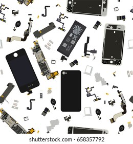 Seamless disassembled phone components vector background