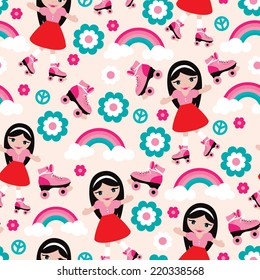 Seamless disco girl design with seamless rainbow flowers and roller skates background pattern in vector