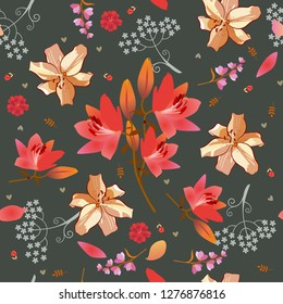 Seamless ditsy floral pattern with pink and golden lilies, bell and umbrella flowera, tiny tulips and little hearts on dark grey background. Print for fabric.
